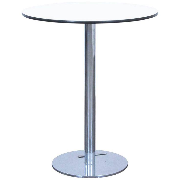 Designer Table White Wood Chrome Swiss Air Lounge Bistro Round Modern