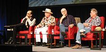 """""""Legendary Artists:  Sounds of San Francisco"""" at an Audio Engineering Society convention in 2012.  Mario Cipollina, Peter Albin, Joel Selvin, Country Joe McDonald"""