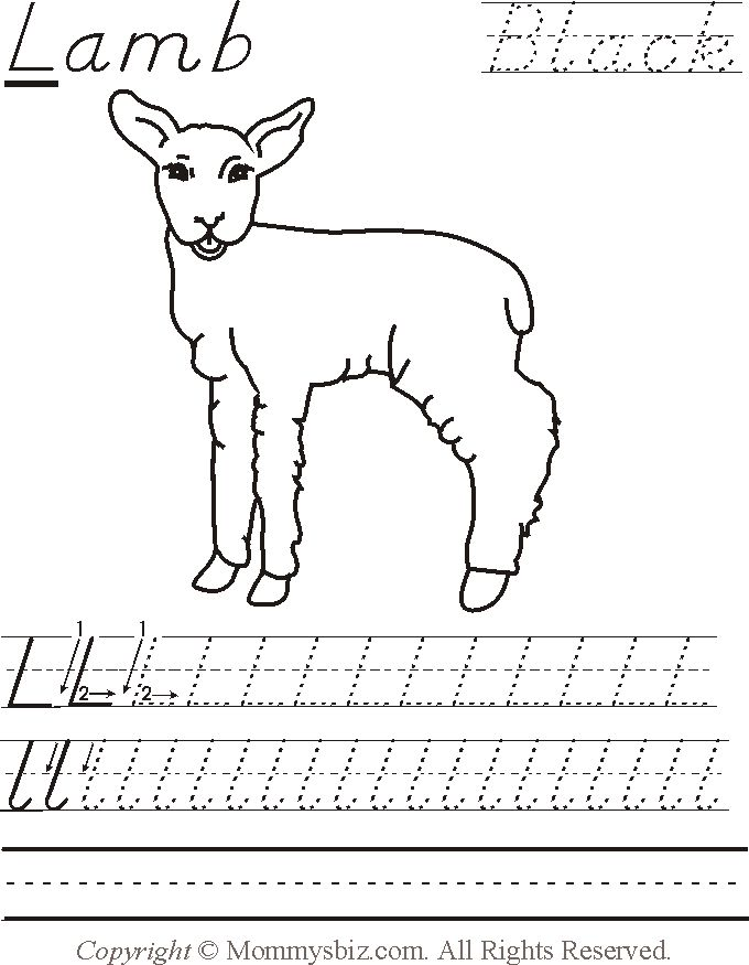 lamb for letter l worksheets for preschool helpful pre k worksheets for kids preschool. Black Bedroom Furniture Sets. Home Design Ideas