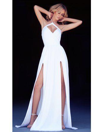 Halter Neck Split Long Chiffon Beach Prom Dress
