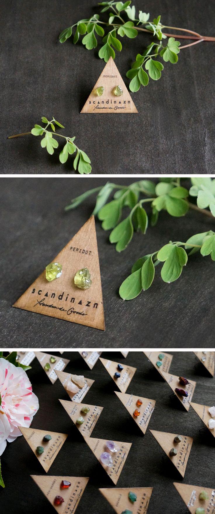 Raw Peridot Gemstone Stud Earrings + + + Clear green stones from Scandinazn.