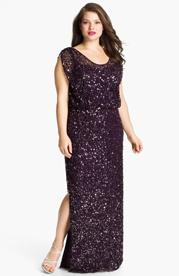For me for Lydias ball???   JS Collections Blouson Bodice Sequin Mesh Gown (Plus) available at #Nordstrom