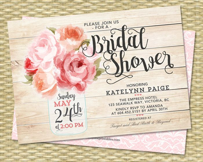 Bridal Shower Invitation Mason Jar Floral Pink Peonies Rustic Bridal Shower Shabby Chic Raspberry Pink Peach Coral Bridal Brunch, ANY EVENT by SunshinePrintables on Etsy