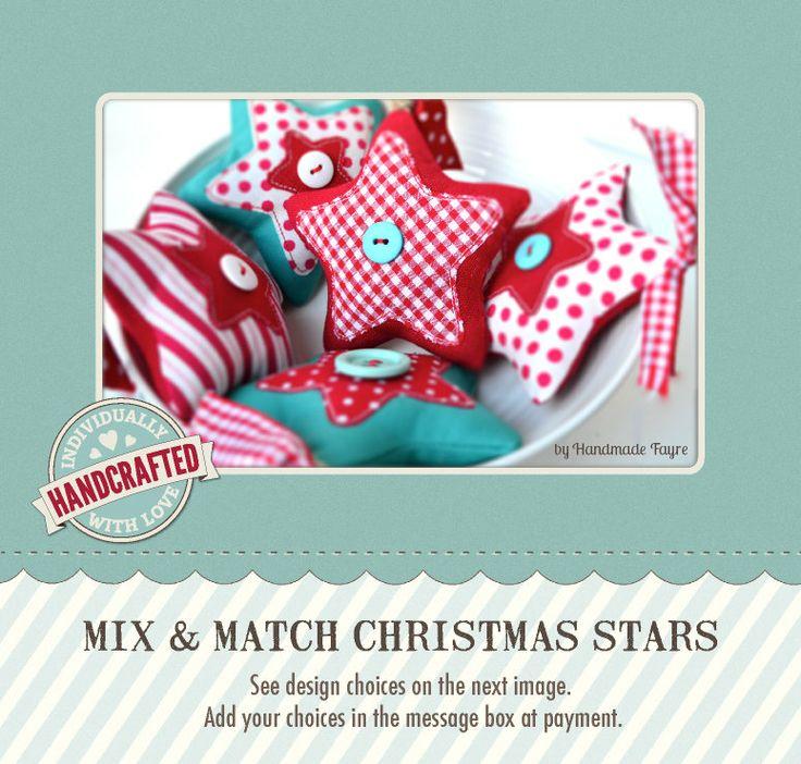 Mezcla de estrellas de Navidad  punto raya guinga por handmadefayre, £4,95
