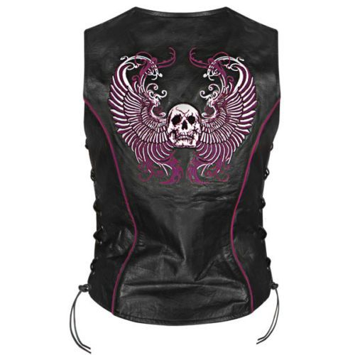 Xelement-Womens-Purple-Winged-Skull-Leather-Vest