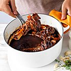 Slow-cooked balsamic lamb shanks