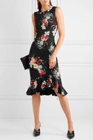 Erdem - Louisa Floral-print Neoprene Dress - Black