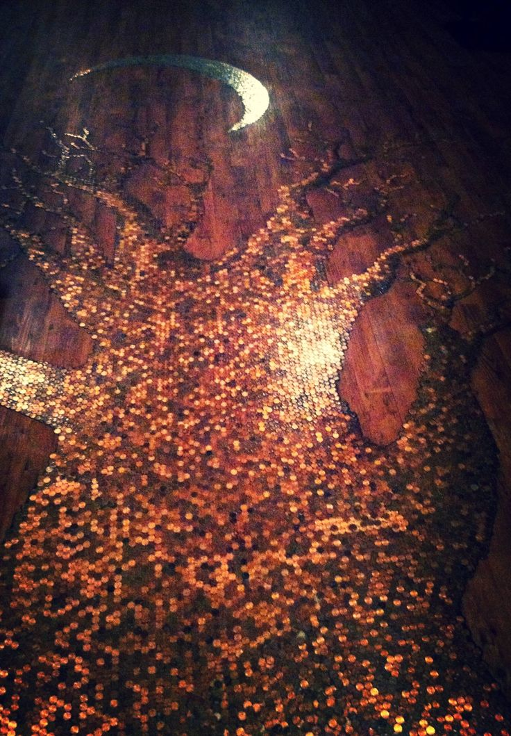 Penny Floor With Silver Moon Copper Art