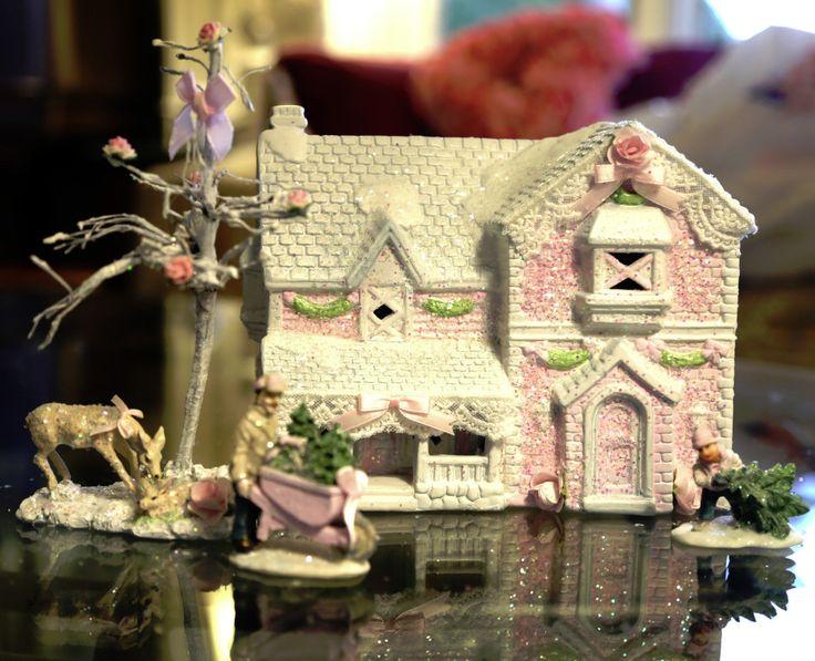 FOR SALE eBay | OOAK Pink Shabby Chic Rose HP Hand-painted building ceramic house Christmas Village Set Country House Deer Tree Boy Pulling Tree Figurine Man Trees Wreath in Wheelbarrow