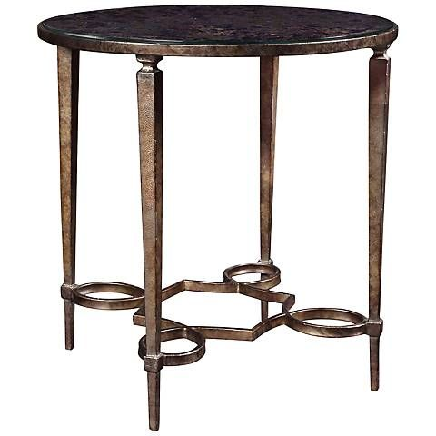 Carrie Antiqued Mirror Round Metal End Table - #5X745   Lamps Plus