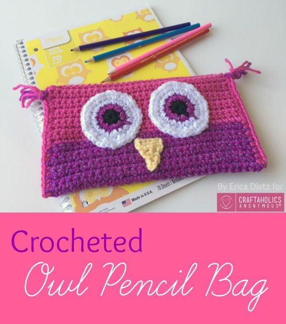 5 Little Monsters: Crocheted Owl Pencil Bag on Craftaholics Anonymous