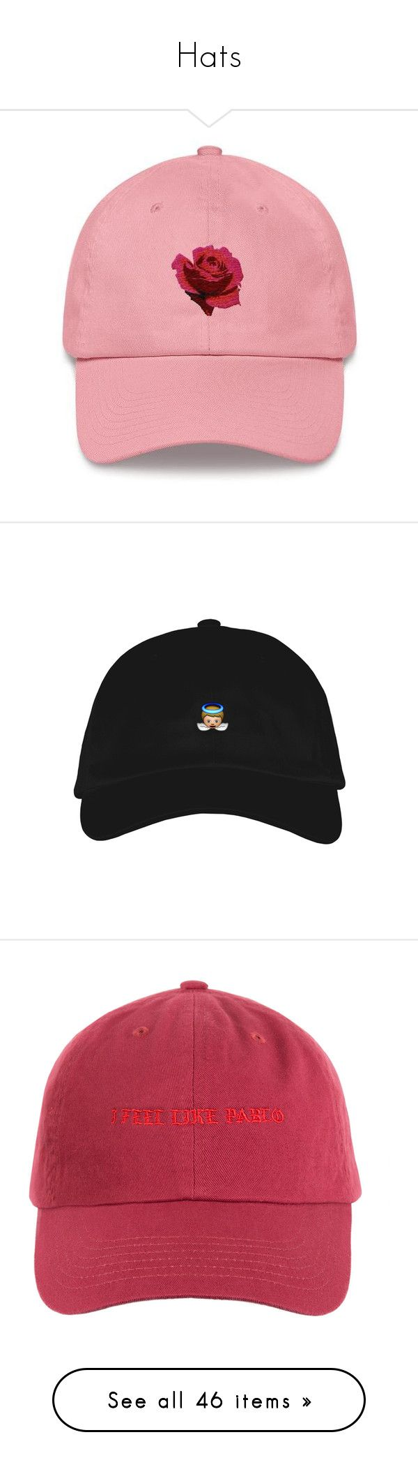 """Hats"" by nazarahwiggins on Polyvore featuring accessories, hats, sun visor, sun visor hat, rose hat, visor hats, 6 panel hat, caps, accessories - hats and dome cap"