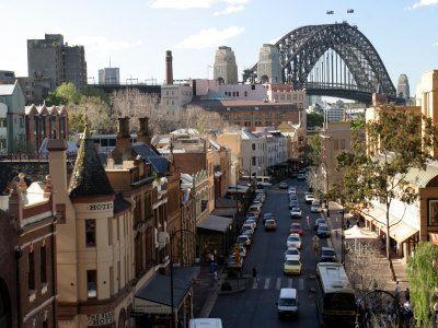 The Rocks, Australia: Historic Buildings and Sydney Harbor Bridge,