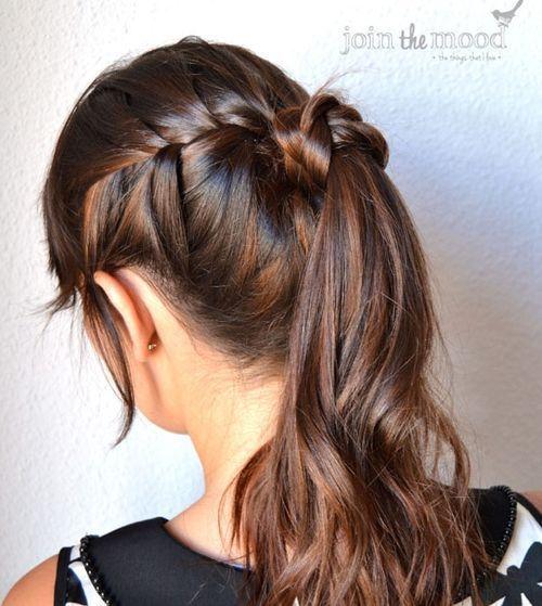 cute braided ponytail for long hair