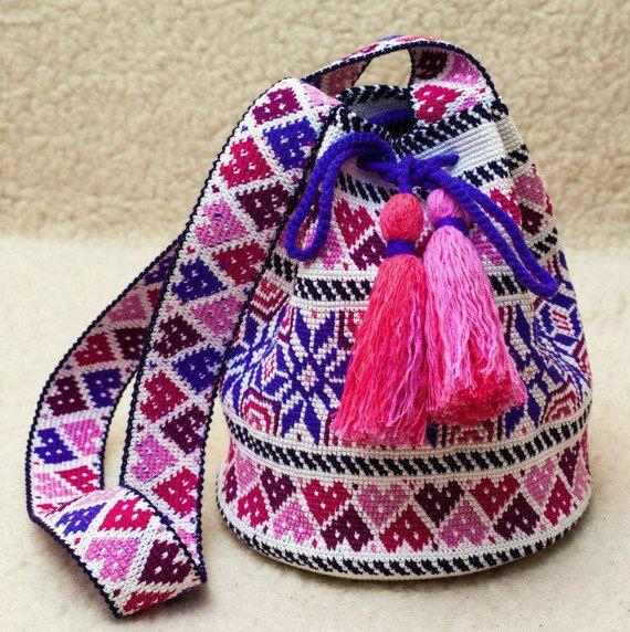 Crochet Crocheted Large Multi-Colored Wayuu Mochila traditional native crossbody bag,ecofriendly bucket bag crossbody sac boho bag,large bag