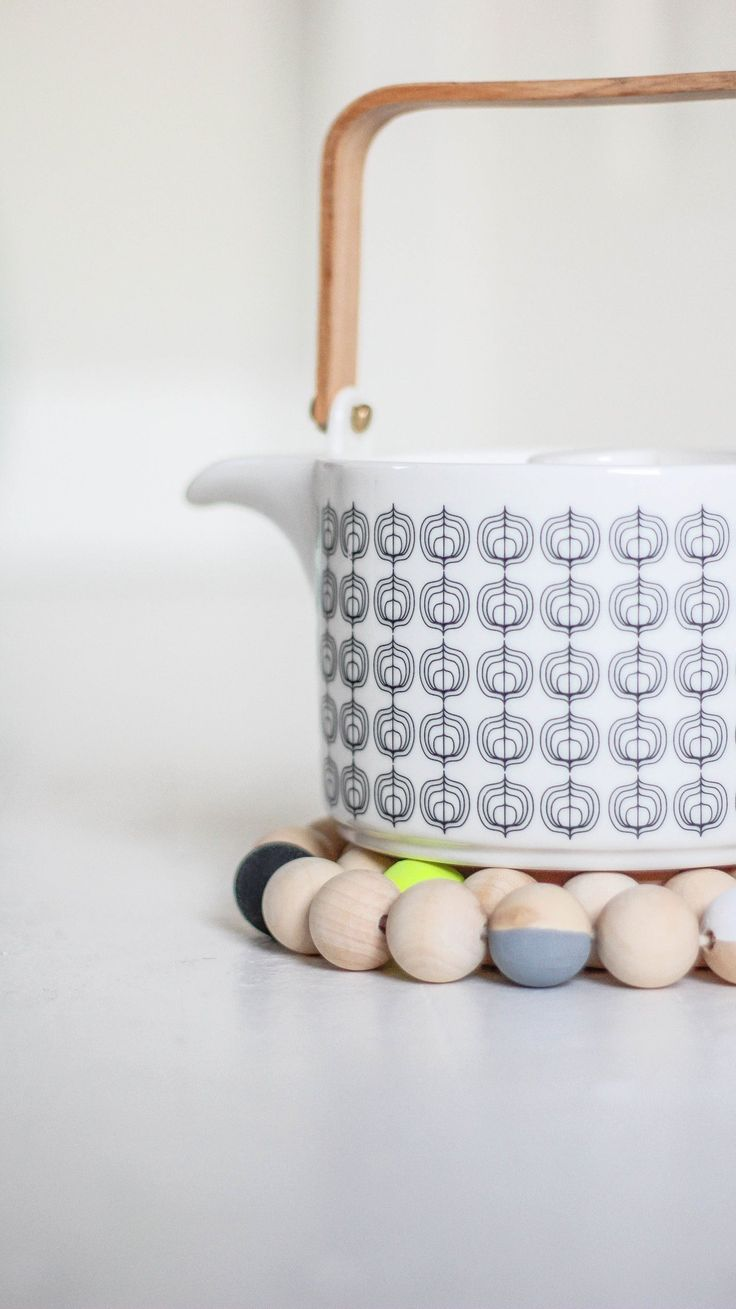 How To Make a Modern Beaded Wood Trivet.  Love this! Also want to make them a necklace... www.twosimplepeople.com