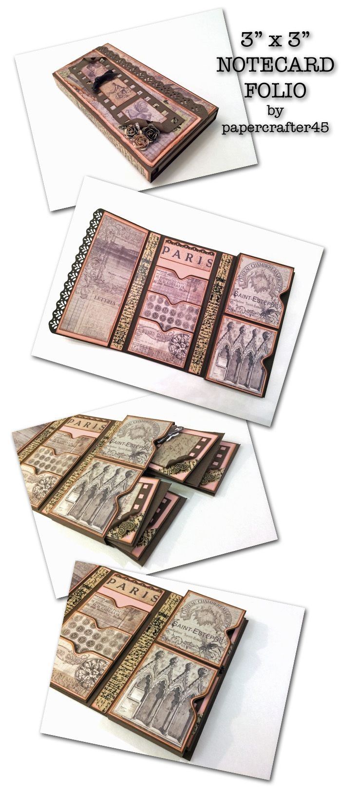 """This Notecard Folio is a lovely way to present your 3"""" x 3"""" handcrafted notecards! Easy to assemble & fun to decorate! YouTube tutorial by papercrafter45."""