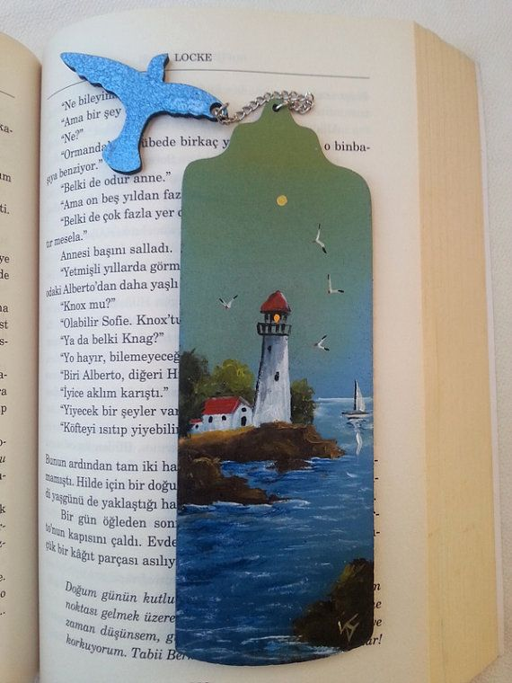 Lighthouse bookmark handpainted lighthouse sea love by AxiKedi