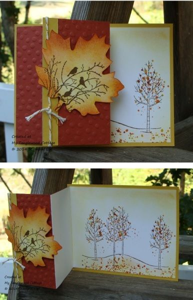 Stampin' Up! ... handmade Fall card by Marie Green ... used White Christmas stamps in Fall colors ... fancy fold card ... like a Z-fold with a long back side ... luv the scene on the die cut and sponged large maple leaf ...