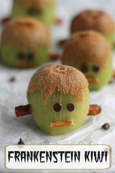 These Frankenstein Kiwis are adorable, super-easy, healthy Halloween treats! Perfect for Halloween fruit trays, fun after-school snacks, and edible Halloween party decorations! | www.TwoHealthyKitchens.com