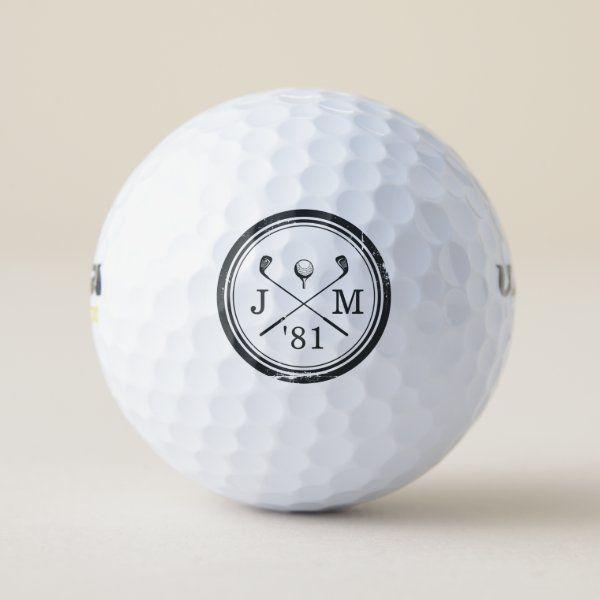 Vintage Golf Club Logo Monogram Golf Balls In 2020 Vintage Golf Clubs Vintage Golf Golf Monogram