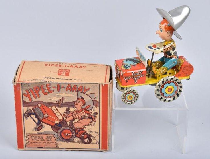 UNIQUE ART Tin Windup RODEO JOE CRAZY CAR w/ BOX