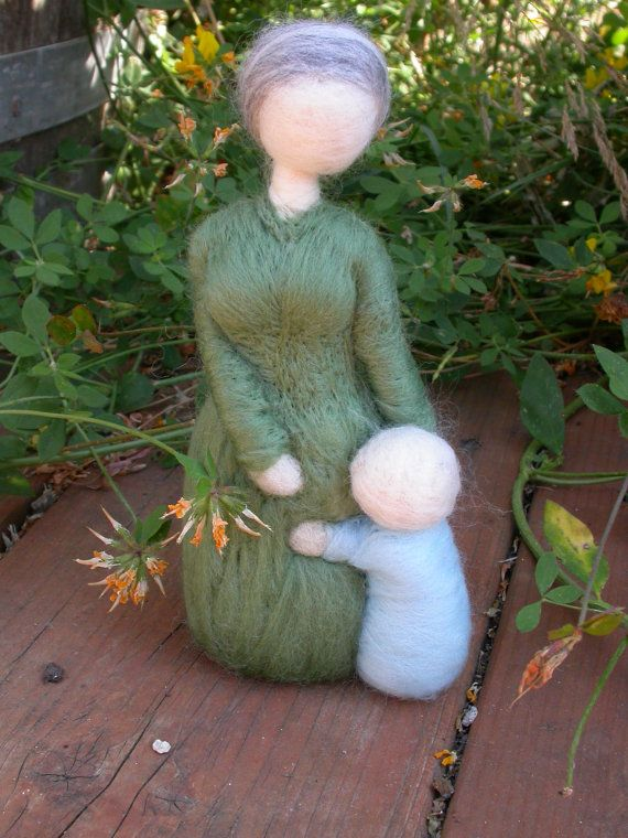 Needle Felted Grandmother and Toddler by radishwoolworks on Etsy, $40.00