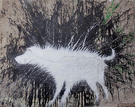Wet dog by Banksy, Palestine - 2007