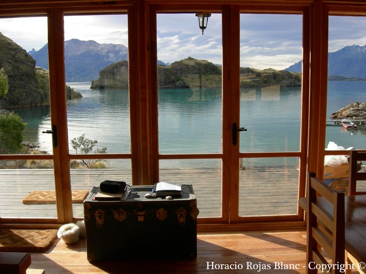 Photo: Horacio Rojas Blanc - Copyright © View from the cabin living room, Isla Macías, General Carrera Lake, Aysén, Chilean Patagonia