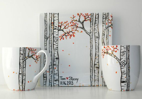 Anni gift. 3 Piece Personalized Anniversary Collection - Large Mugs and Sharing Plate