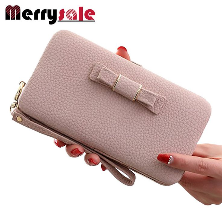 Long Wallet cute bow student lunch box purse large capacity mobile phone -- Continue to the product at the image link.