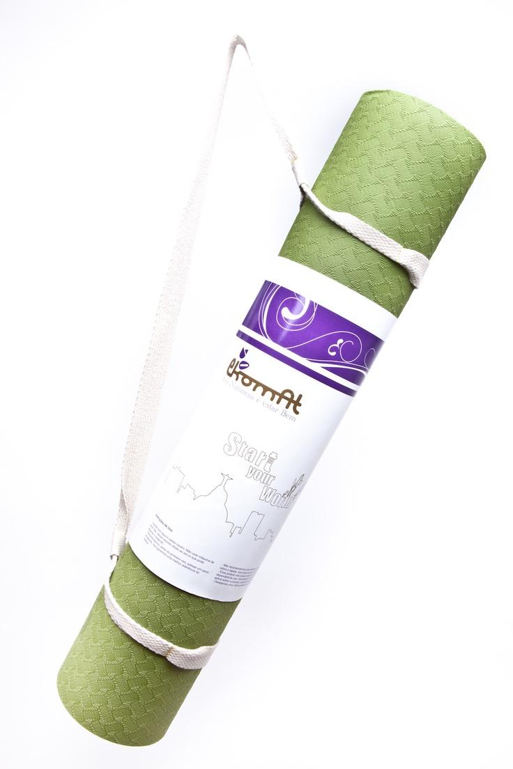 "Tapete para Yoga (Yogamat) ""Meu Mundo"" Verde - 5mm"