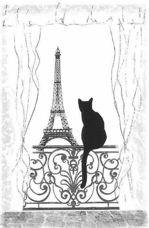 Mmmm ... Eiffel Tower and filigree stamps, a cat die and some pen drawn curtains and I'll be sending out this design on cards soon!