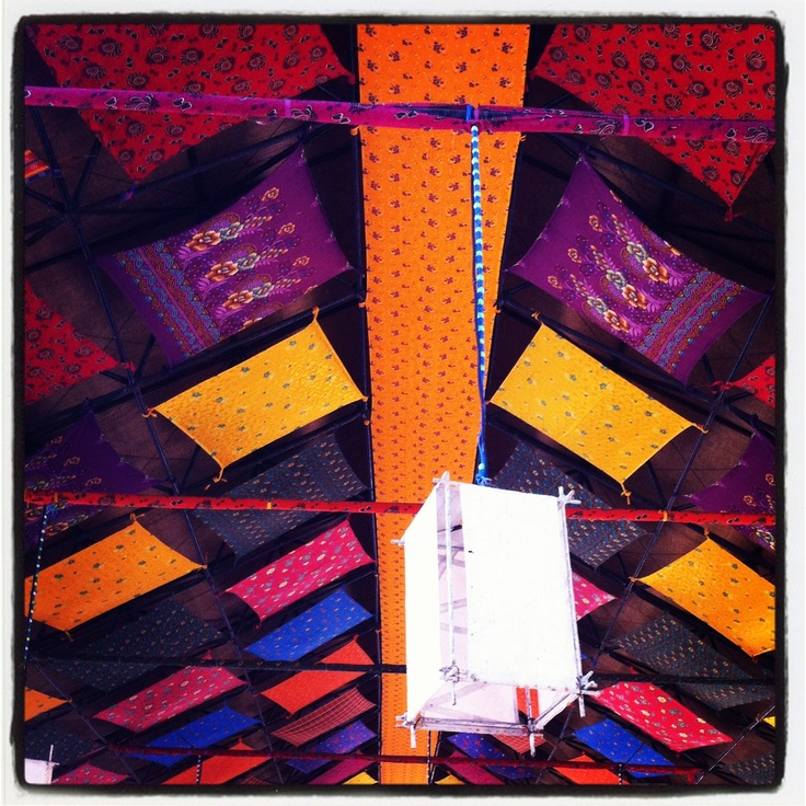 Restuarant ceiling made of handcrafted textile #dodro #kutch #gujarat #india #ourtravel