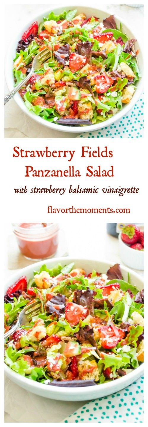 strawberry-fields-panzanella-salad-with-strawberry-balsamic-vinaigrette-collage | flavorthemoments.com