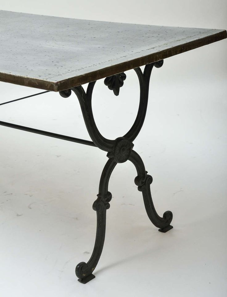 Elegant 19th Century Cast Iron Base Writing Or Dining Table With New Antiqued Zinc  Top Pictures Gallery