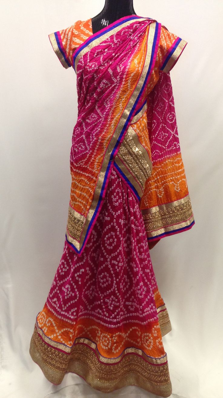 Bandhani Silk Pink-Orange Lehenga/Chaniya Choli