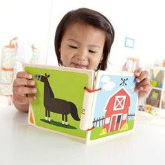HAPE Baby book- At the farm  Self Discovery: Enhance baby's perspective with visual, tactile, and auditory cues.  Materials: wood, water base paint