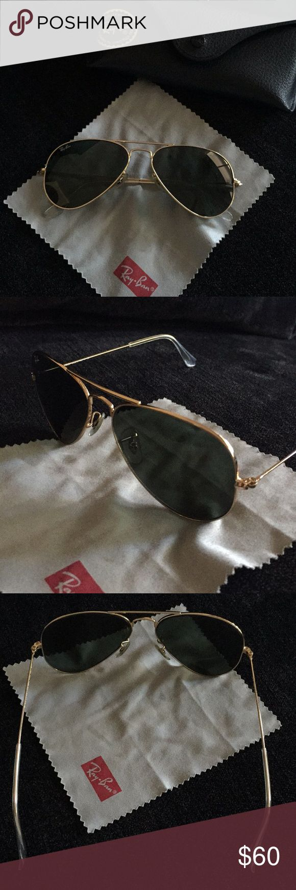 Ray ban sunglasses RB3025 RB 3025 aviator large metal W3234 55014 3N gold-green classic. Authentic made in Italy. Perfect condition. Ray-Ban Accessories Sunglasses