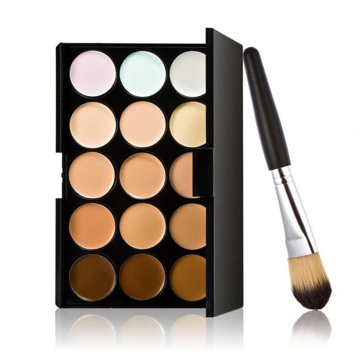 Corrector 15 Colores Contour Palette Y Powder Brush 2 Unids Set Profesional Cara Imprimación Corrector Maquillaje Crema Base Maquillaje M182