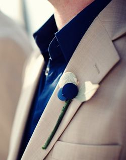 Spring wedding Tux ideas with blue shirts to match the bridesmaid's dresses.  Looks casual. Awwww man I love the dark blue and tan as well..