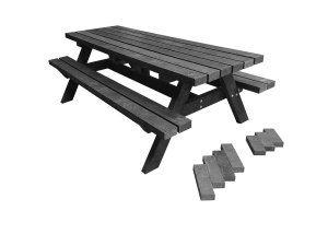 Robuuste onderhoudsvrije, solide en duurzame tuintafel / picknicktafel -bank van zwart gerecycled kunststof balken.