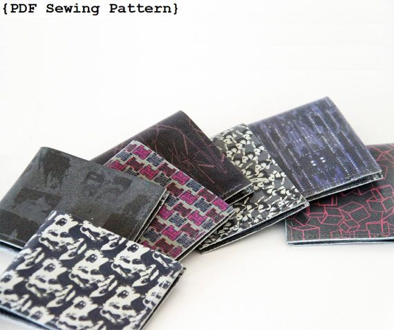 Pattern for thinline men's wallet in Leather. Minimal size to hold cards and bills - very few seams!