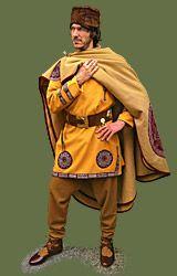 Roman Outfit 4th cent.  Century - Sources:  Full Roman outfit (300 - 450 A.D circa)  Package includes:  169,00 - Tunica cum clavi and orbicula  169,00 - Sagum (cloak) 290x150 cm cum orbicula (diameter 40 cm)  99,00 - Thorsberg trousers footed  45,00 Pileus pannonicus (Pillbox hat)