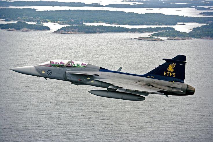 Royal Swedish Air Force Saab JAS39B Gripen in ETPS colours.