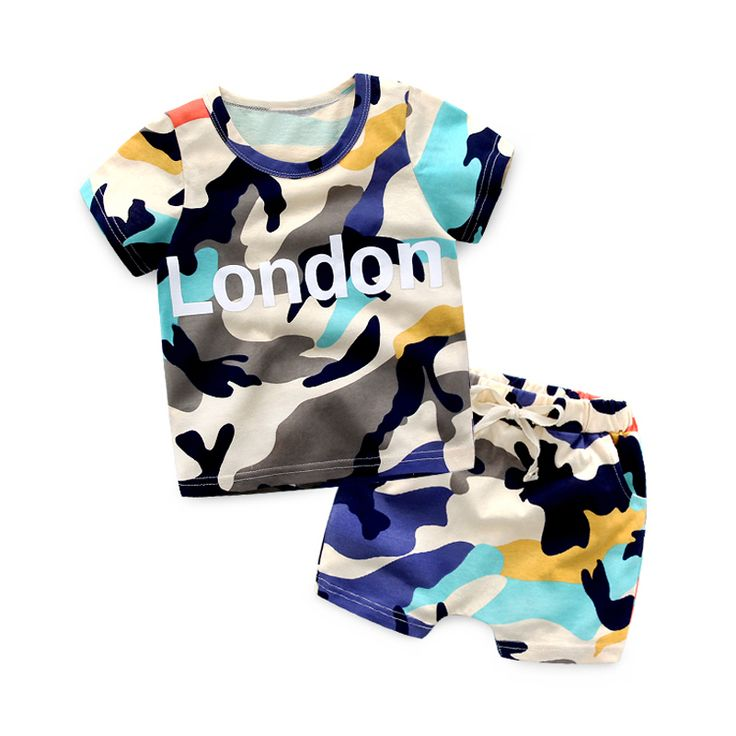 Mudkingdom Baby Boys Summer Short Sets London Printing Shorts Suit 2017 children's clothing two-piece Hip-Hop Sports Suit