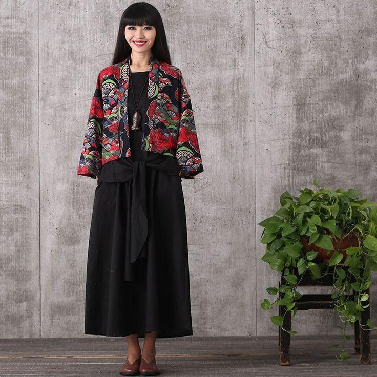 Women long sleeve printing cardigan cotton linen plus size coat