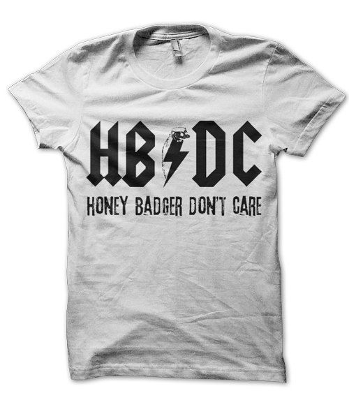 HB / DC Honey Badger Don't Care Rock n' Roll t-shirt available in multiple sizes and colors on Etsy, $9.99