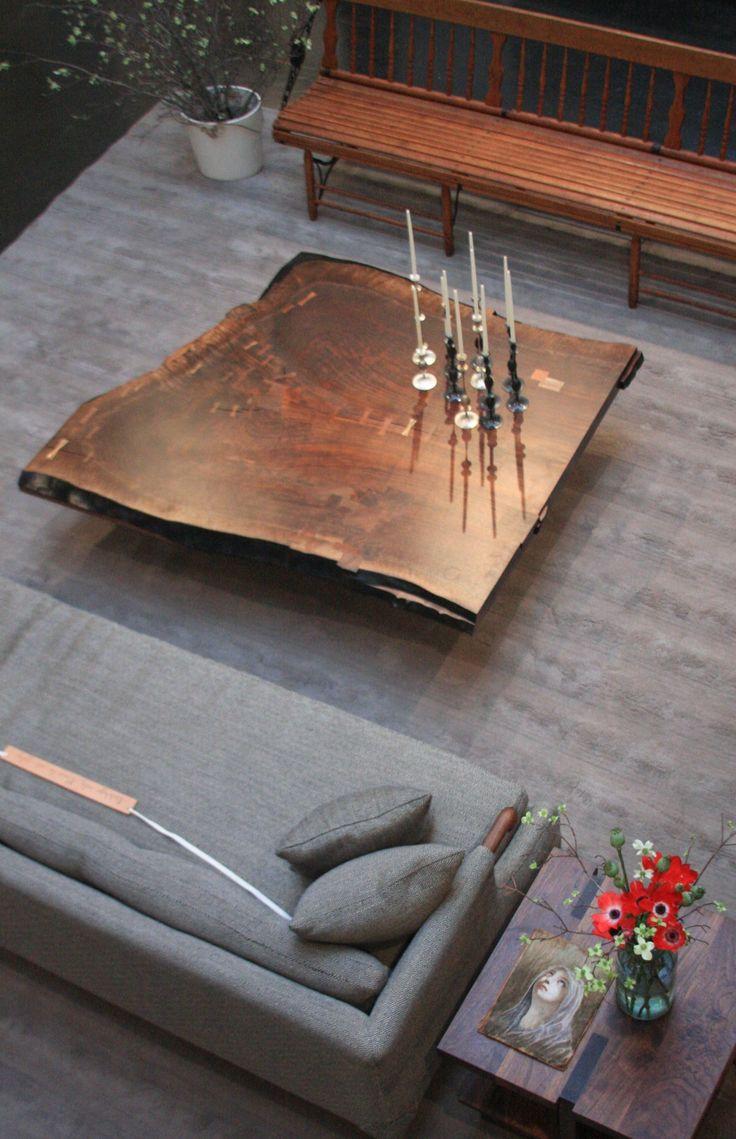 Wood slab coffee table with jenni of i spy diy minwax blog - Live Edge Walnut Slab Coffee Table More Natural Edge Wood Slabs Burls And Bases