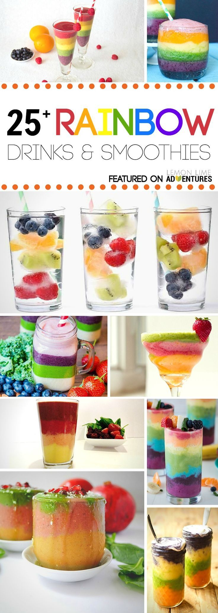 25 Healthy Rainbow Drink & Smoothie Recipes | Perfect for any rainbow birthday party theme